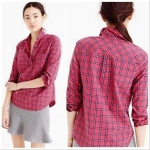 J Crew Red Tartan Plaid Popover